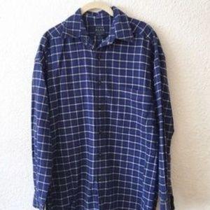 Blue Stripe Plaid Dress Shirt